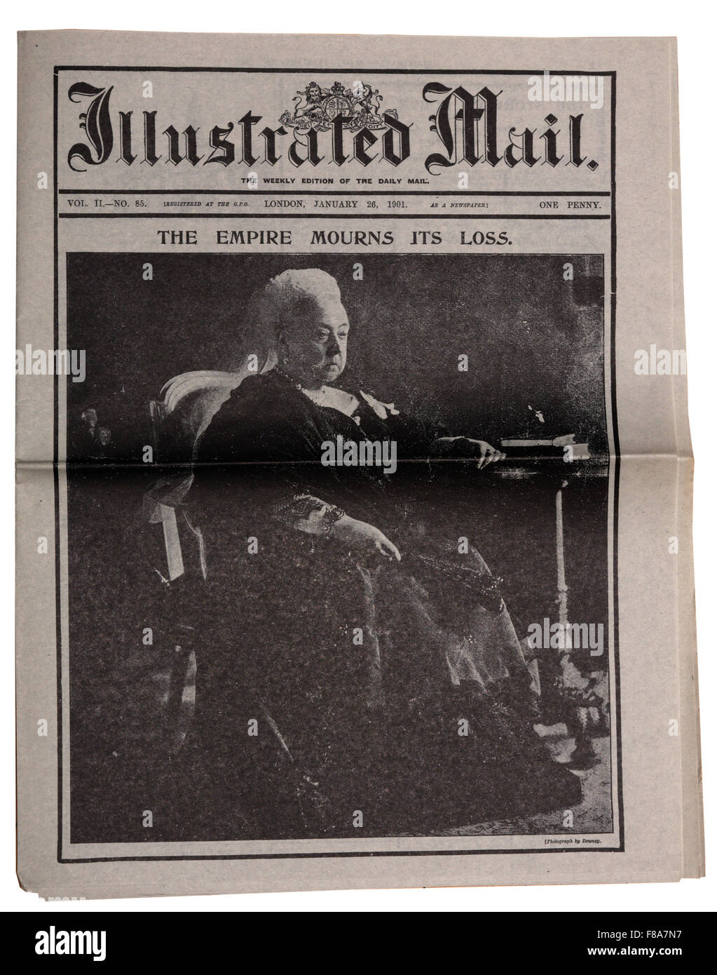 A reproduction newspaper the Illustrated Mail with the headline that Queen Victoria has died. - Stock Image