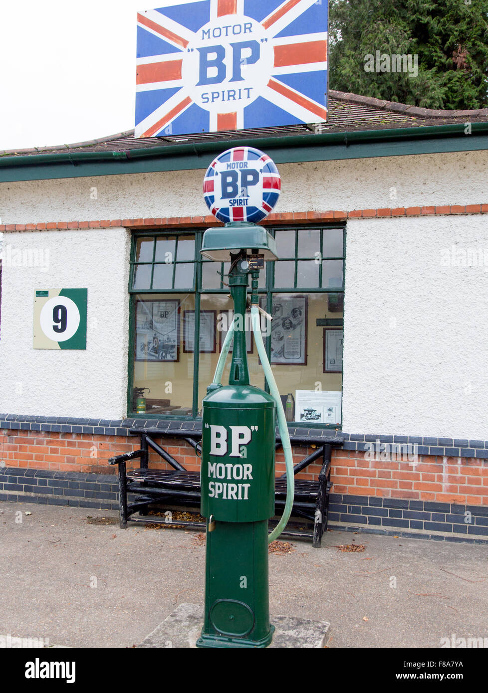 Antique BP Petrol Pump Brooklands Museum Weybridge Surrey UK Stock Photo