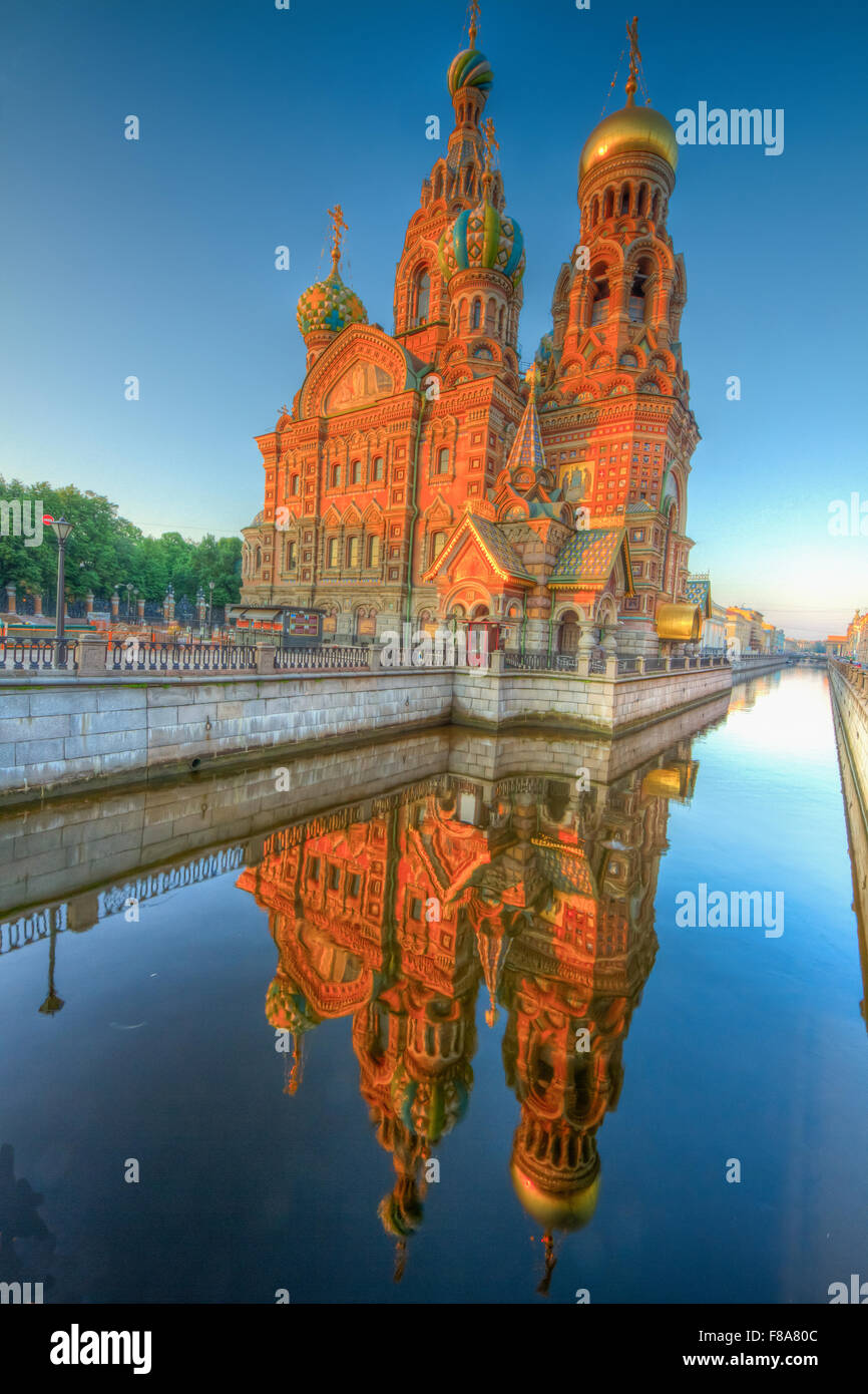 Church of the Spilled Blood, Saint Petersburg, Russian Federation Site of muder of Alexander II in 1881 - Stock Image