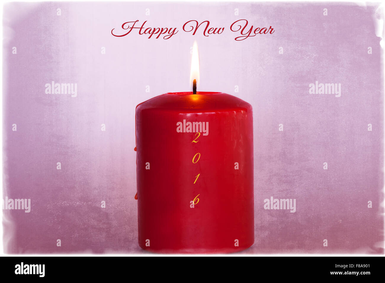 happy new year greeting card with flaming candle text and border