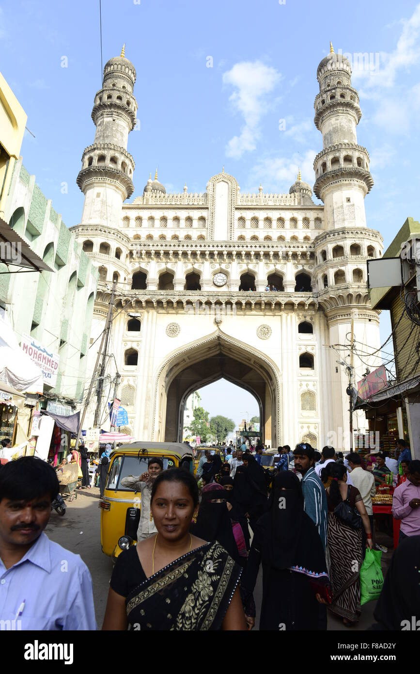 The beautiful Charminar monument and the bustling markets around it. - Stock Image