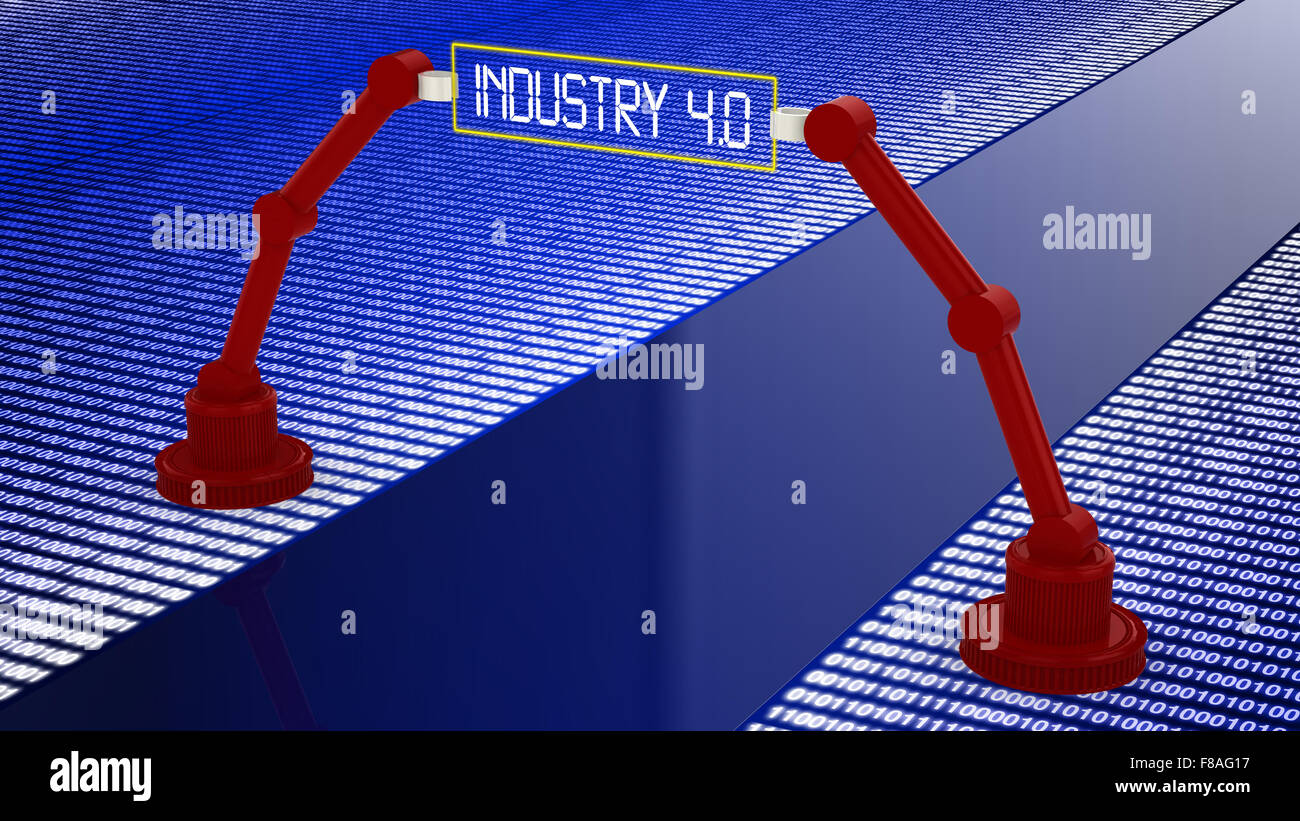 Digital road to industry 4.0 concept illustration with 2 robotic arms holding a sign - Stock Image