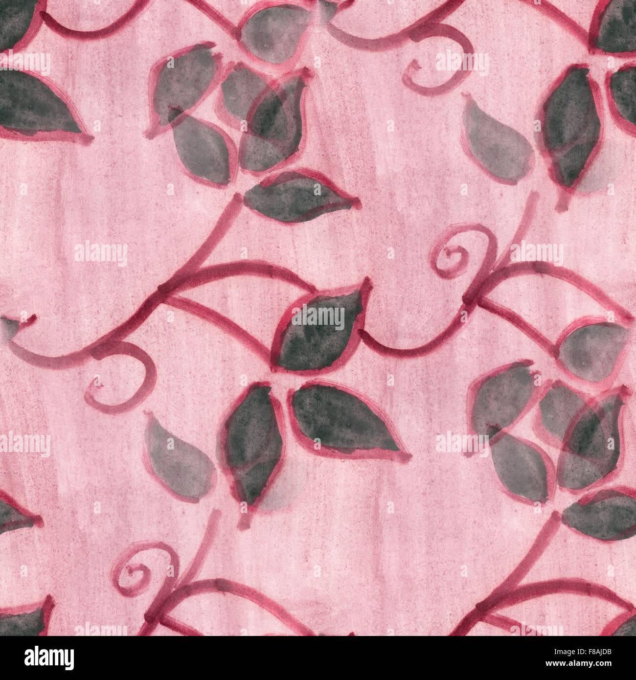 Watercolor Flowers Black Pink Seamless Background Wallpaper Handmade