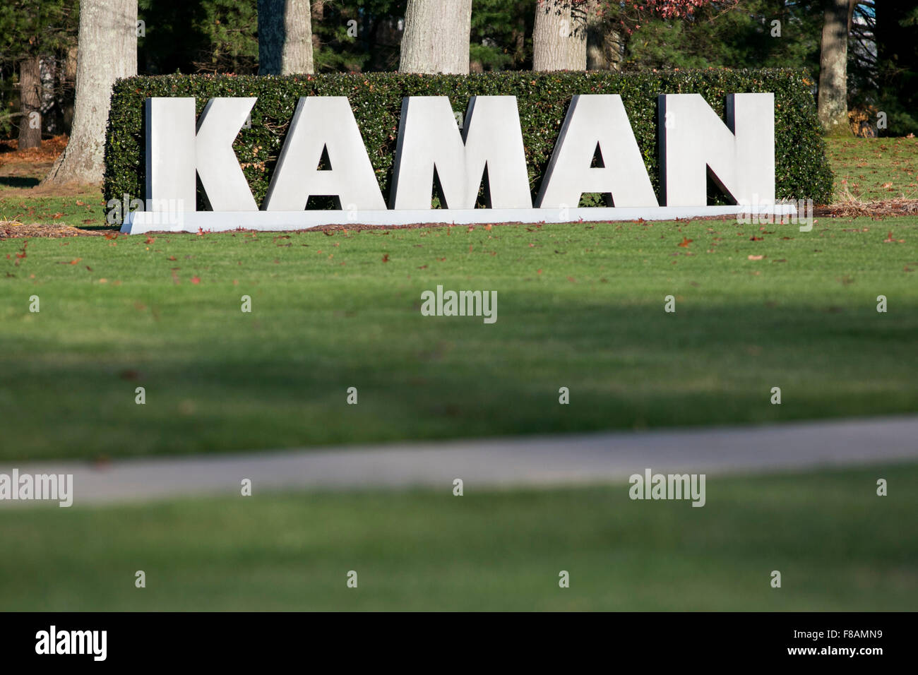 A logo sign outside of the headquarters of Kaman Aerospace Corporation in Bloomfield, Connecticut on November 21, - Stock Image