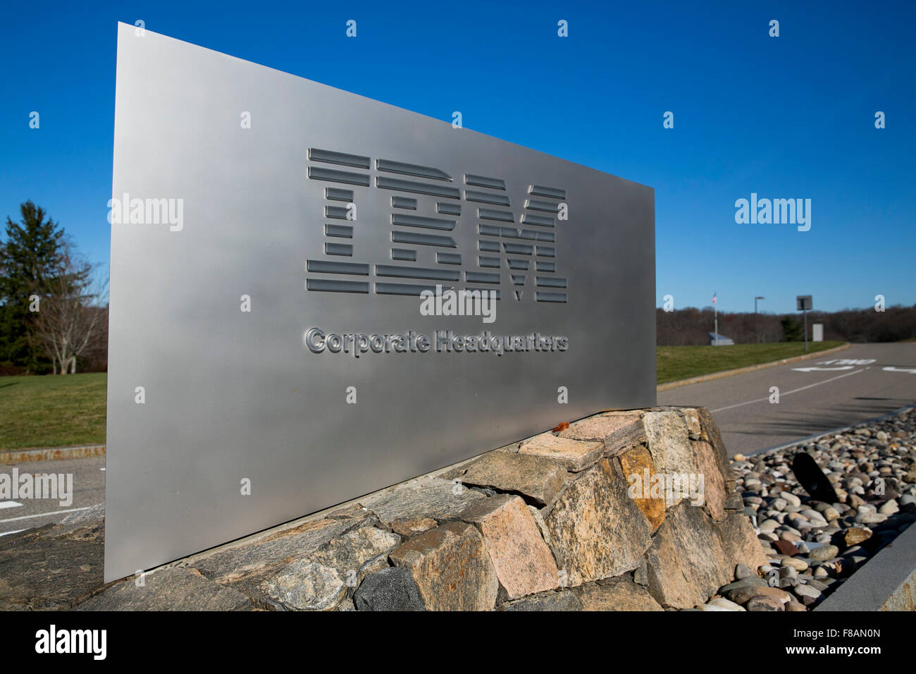 A logo sign outside of the headquarters of IBM in Armonk, New York on November 21, 2015. - Stock Image