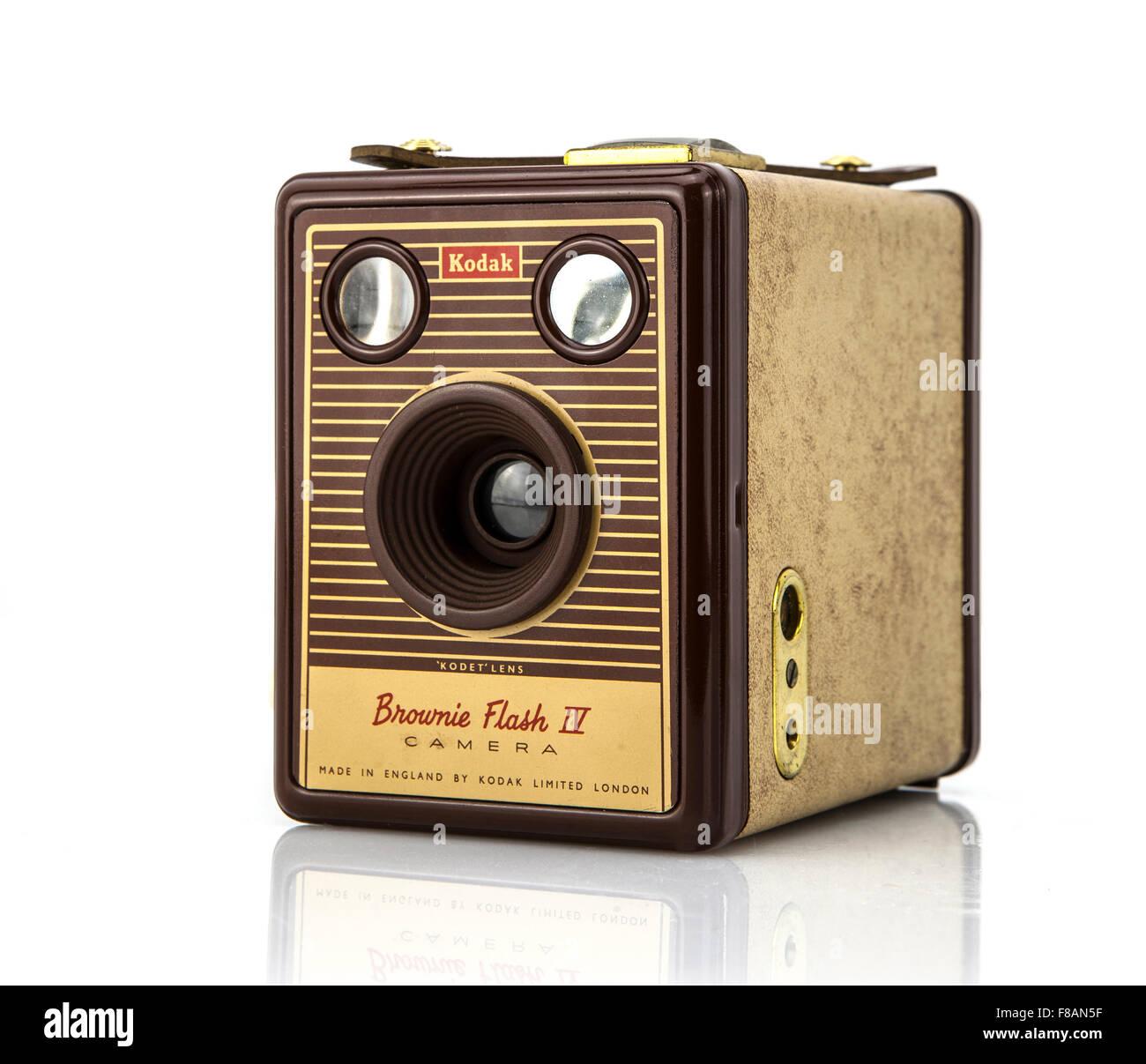 Kodak Brownie flash IV (1957) shot in studio on a white background - Stock Image
