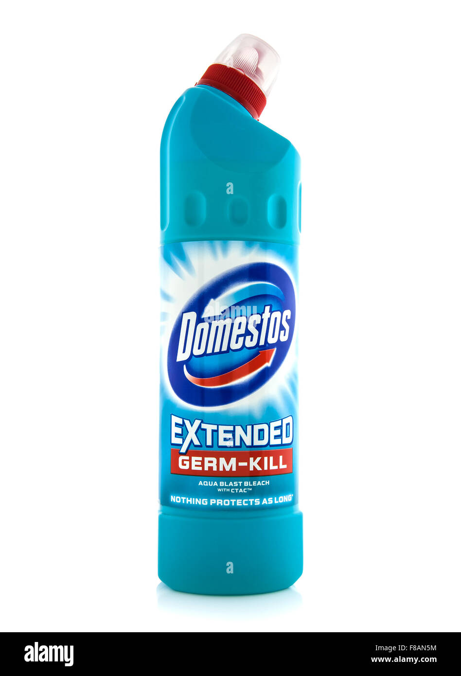 Domestos Bleach on a white background, Domestos is a household cleaning range which contains  bleach - Stock Image