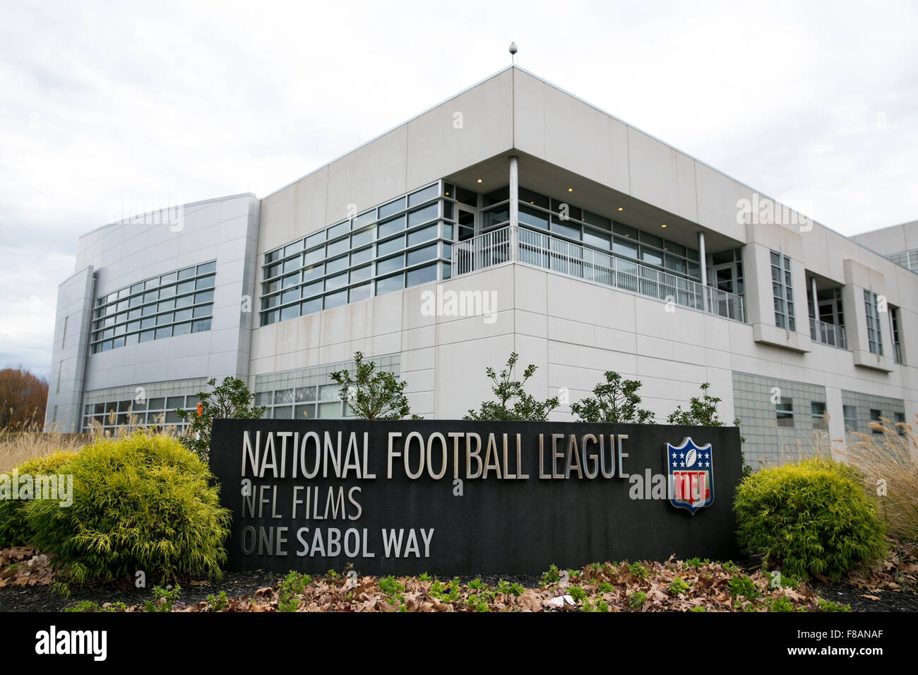 A logo sign outside of the headquarters of NFL Films in Mount Laurel, New Jersey on November 22, 2015. - Stock Image