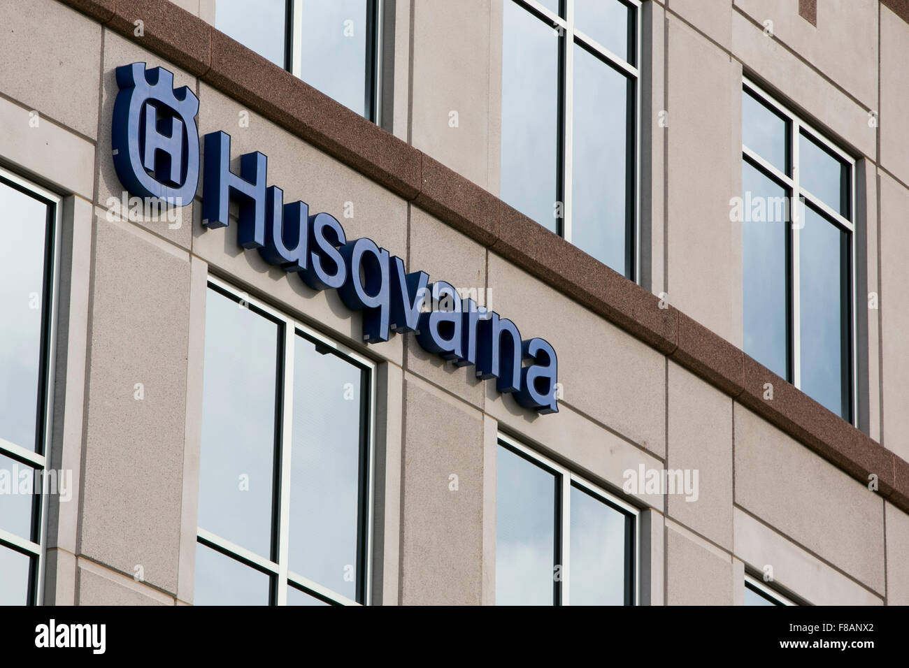 A logo sign outside of a facility occupied by The Husqvarna Group in Charlotte, North Carolina on November 28, 2015. - Stock Image