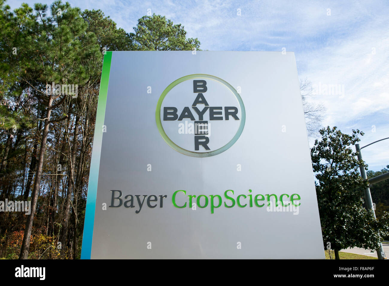 A logo sign outside of a facility occupied by Bayer CropScience in Research Triangle Park, North Carolina on November - Stock Image