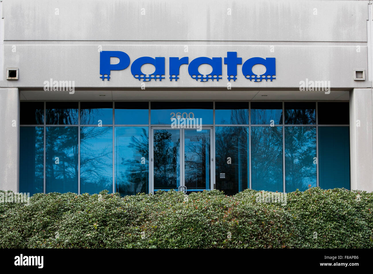A logo sign outside of the headquarters of Parata Systems in Durham, North Carolina on November 29, 2015. - Stock Image