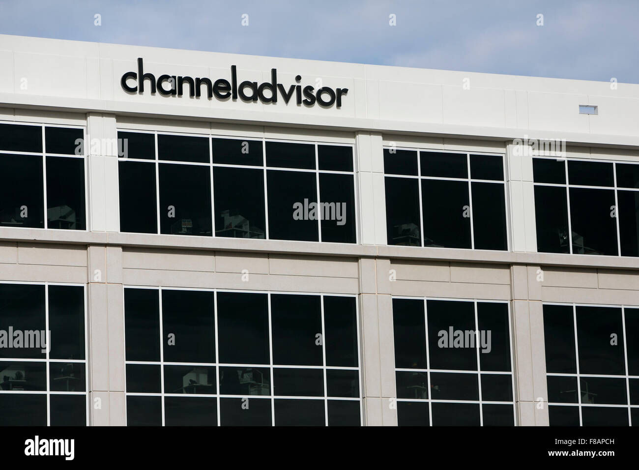 A logo sign outside of the headquarters of ChannelAdvisor in Morrisville, North Carolina on November 29, 2015. - Stock Image