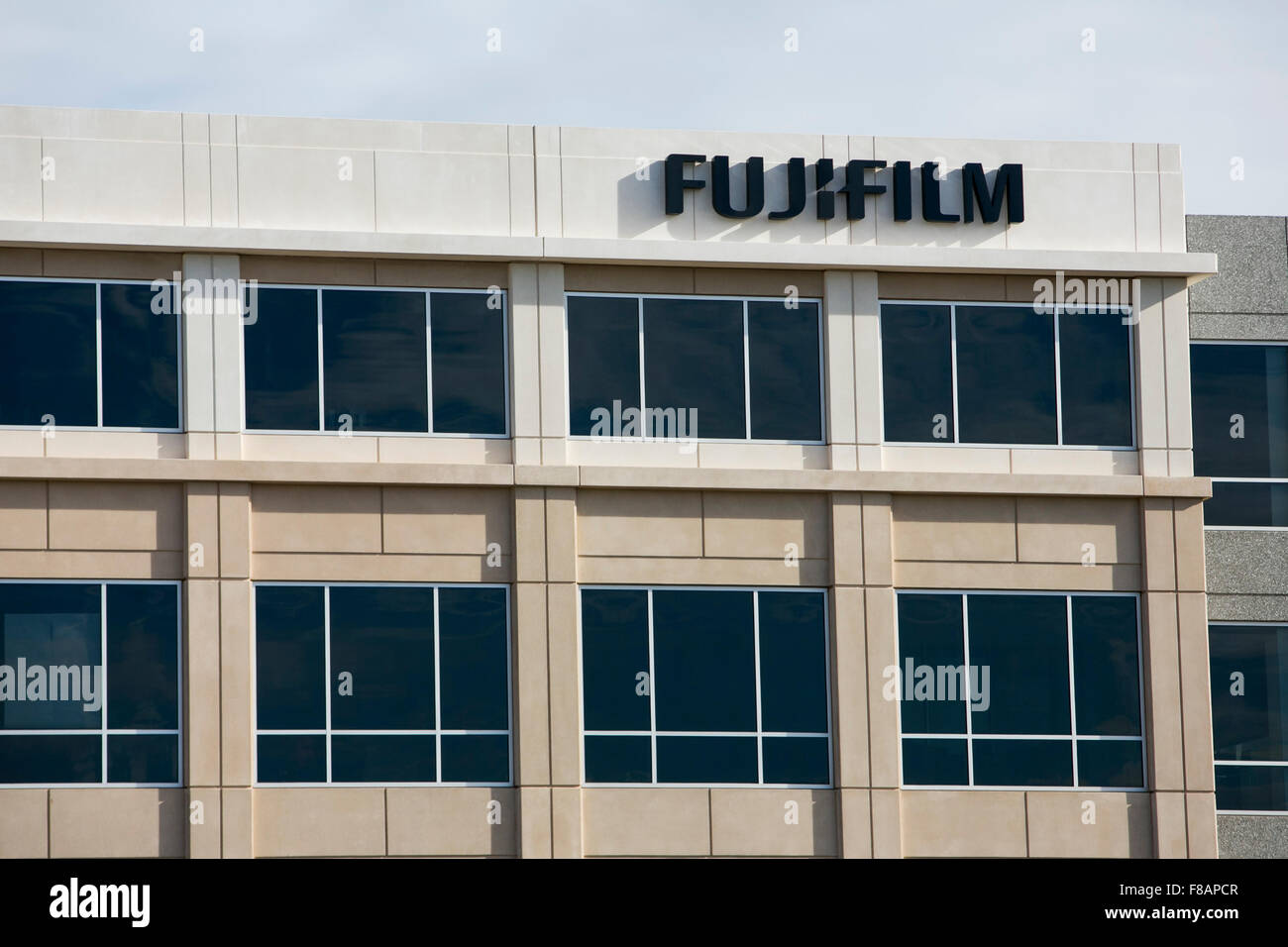 A logo sign outside of a facility occupied by Fujifilm Holdings Corporation in Morrisville, North Carolina on November - Stock Image