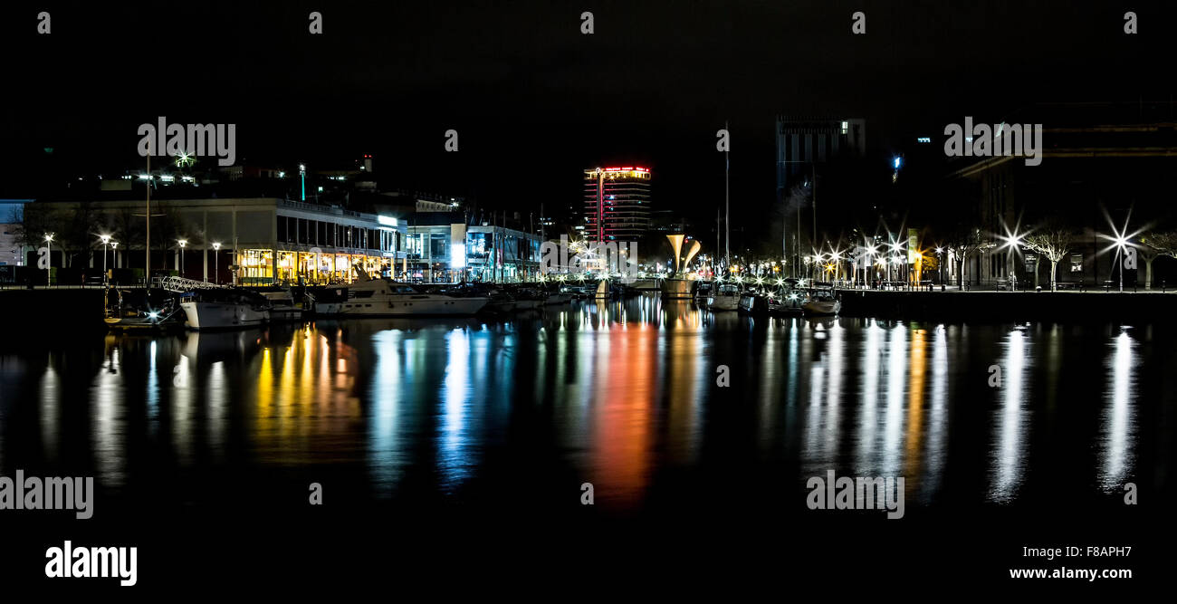 Bristol Harbourside By Night - Stock Image