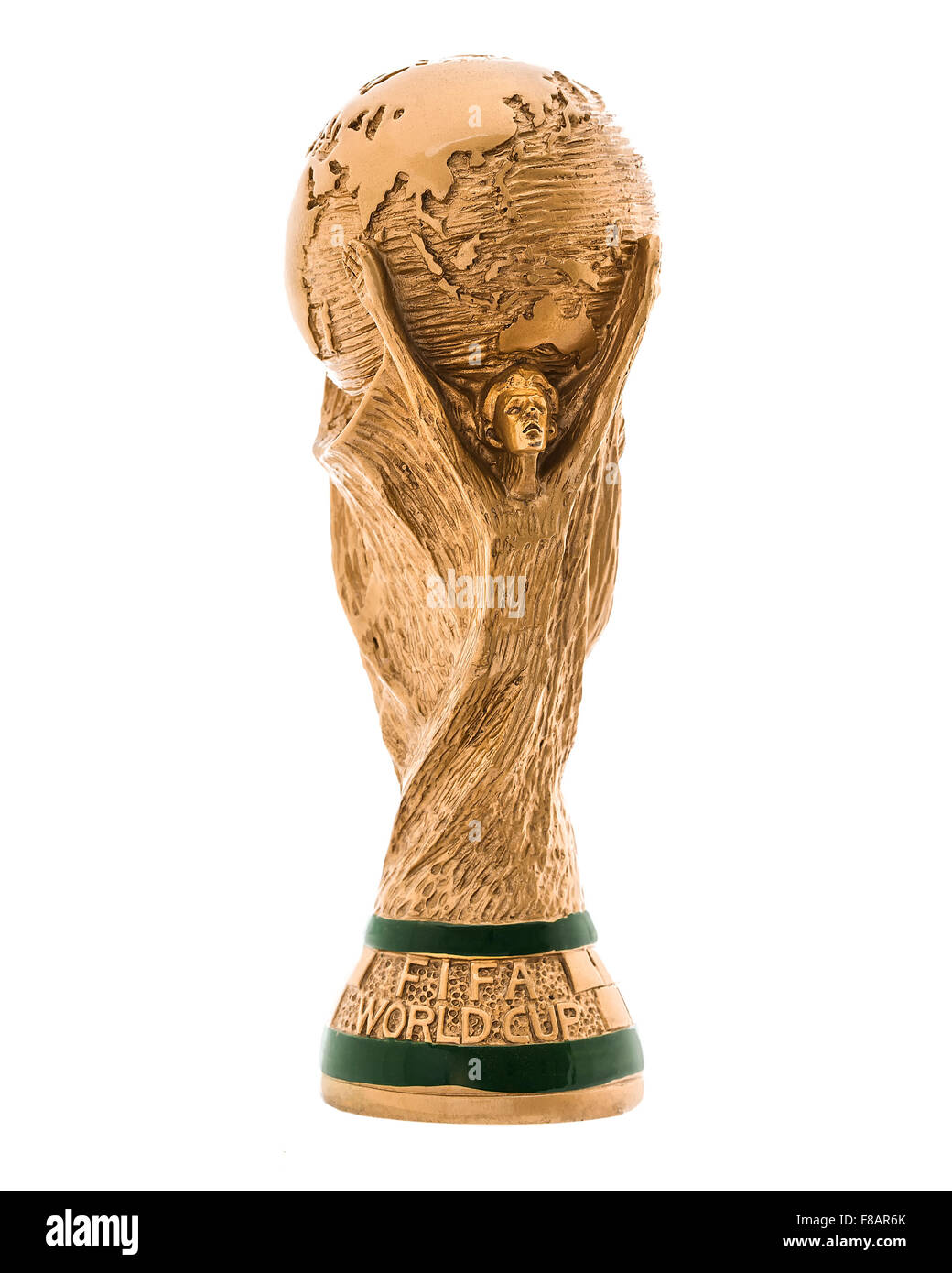 FIFA World Cup Trophy on a white Background,  'FIFA World Cup Trophy', was introduced in 1974 - Stock Image