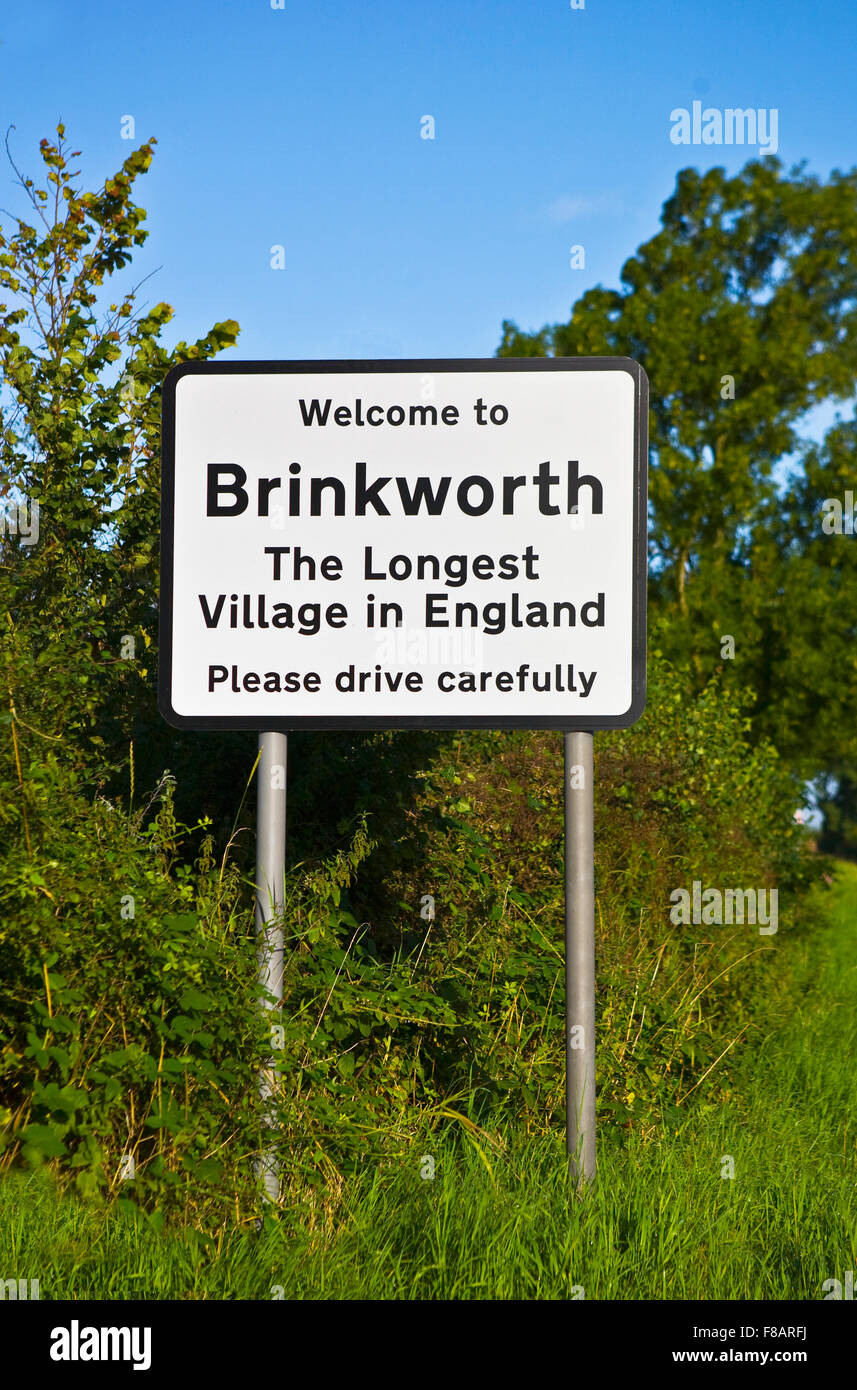 Brinkworth the longest village in England road sign - Stock Image