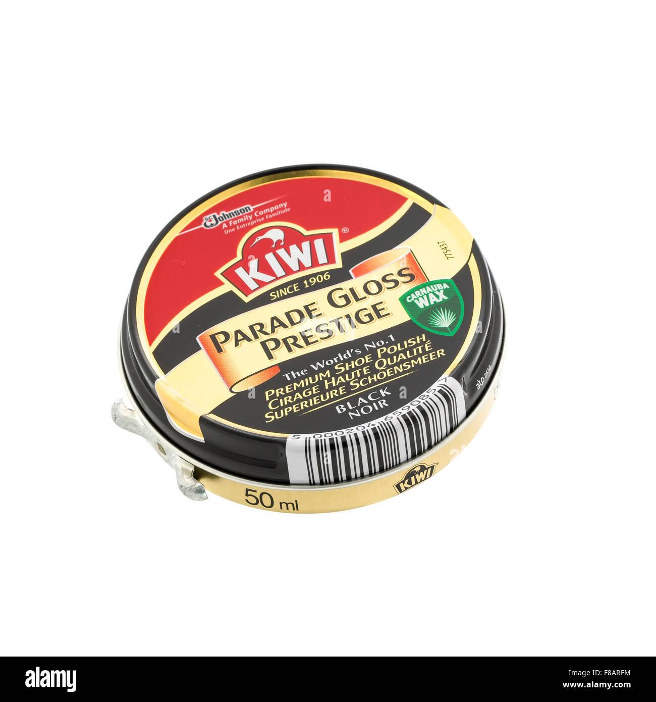 Tin Of Kiwi Black Parade Gloss Prestige Shoe Polish on a White Background - Stock Image