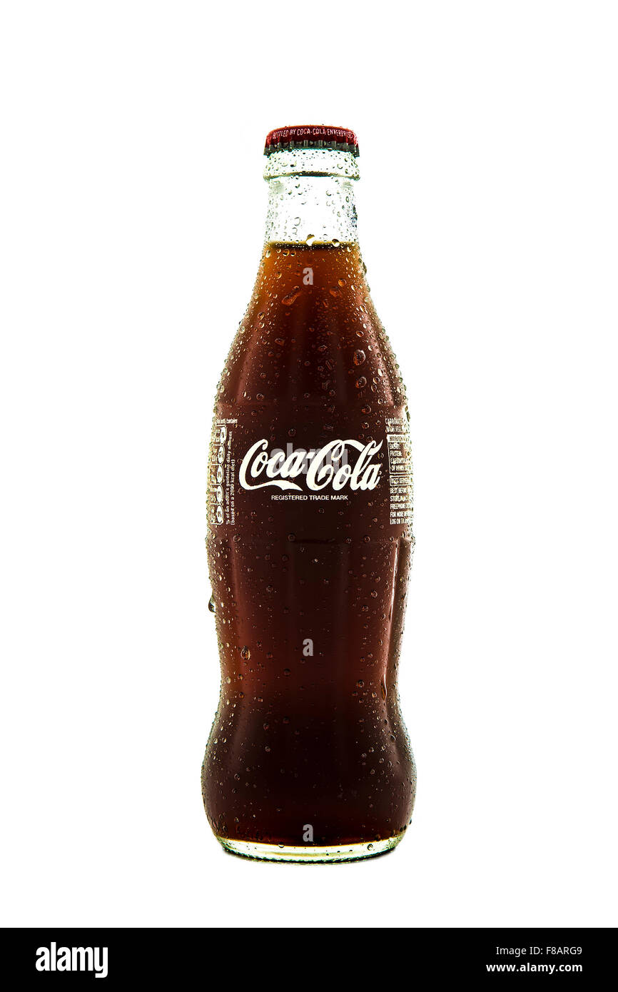 Cold Classic Coke Bottle on a white background Stock Photo: 91207097
