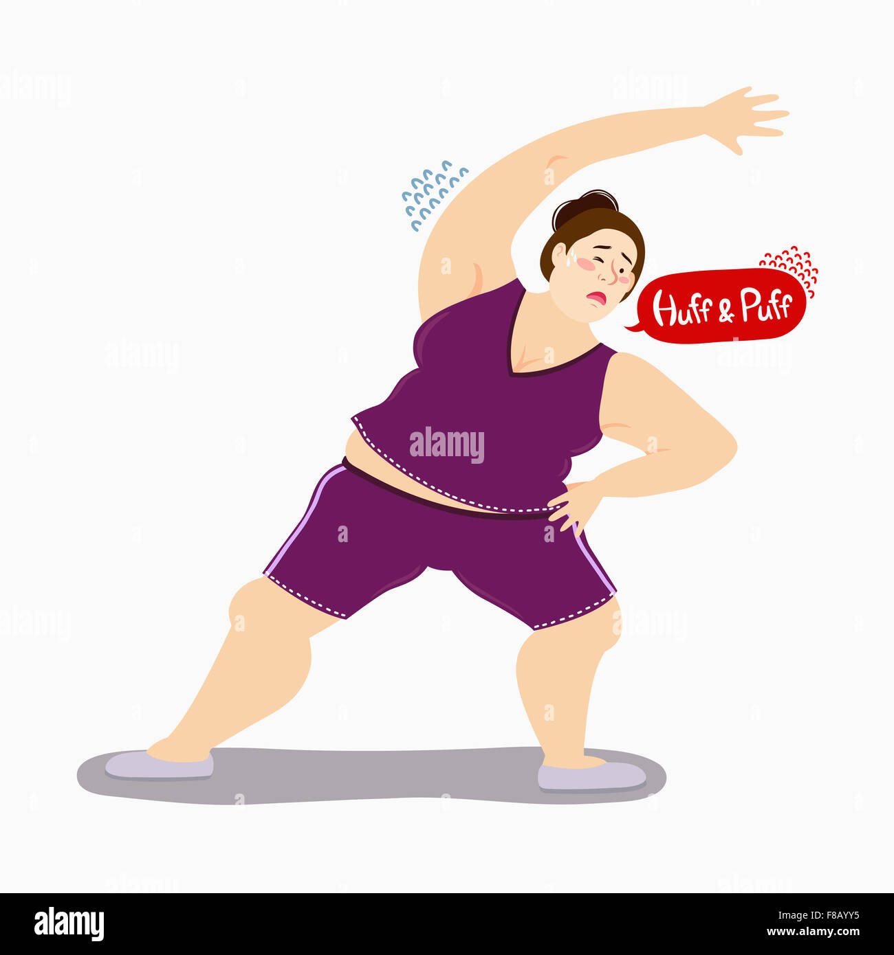 Fat Woman Doing Freehand Exercise With Sweat And The Words Of Huff Stock Photo Alamy