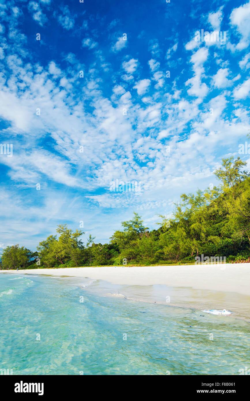long beach on koh rong island near sihanoukville cambodia - Stock Image
