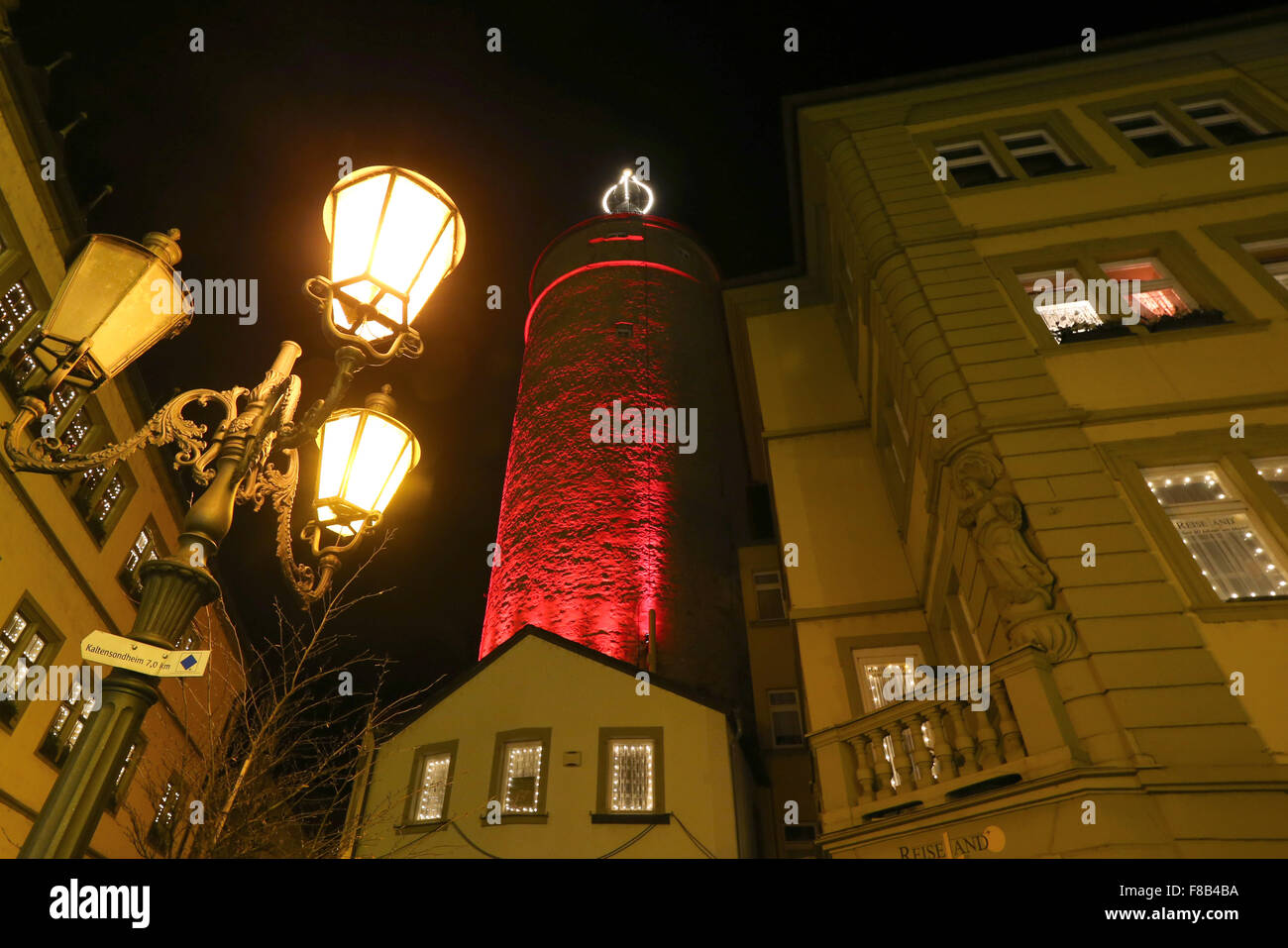 Kitzingen, Germany. 7th Dec, 2015. The 32-metre-high market tower has been decorated to look like a giant Christmas - Stock Image