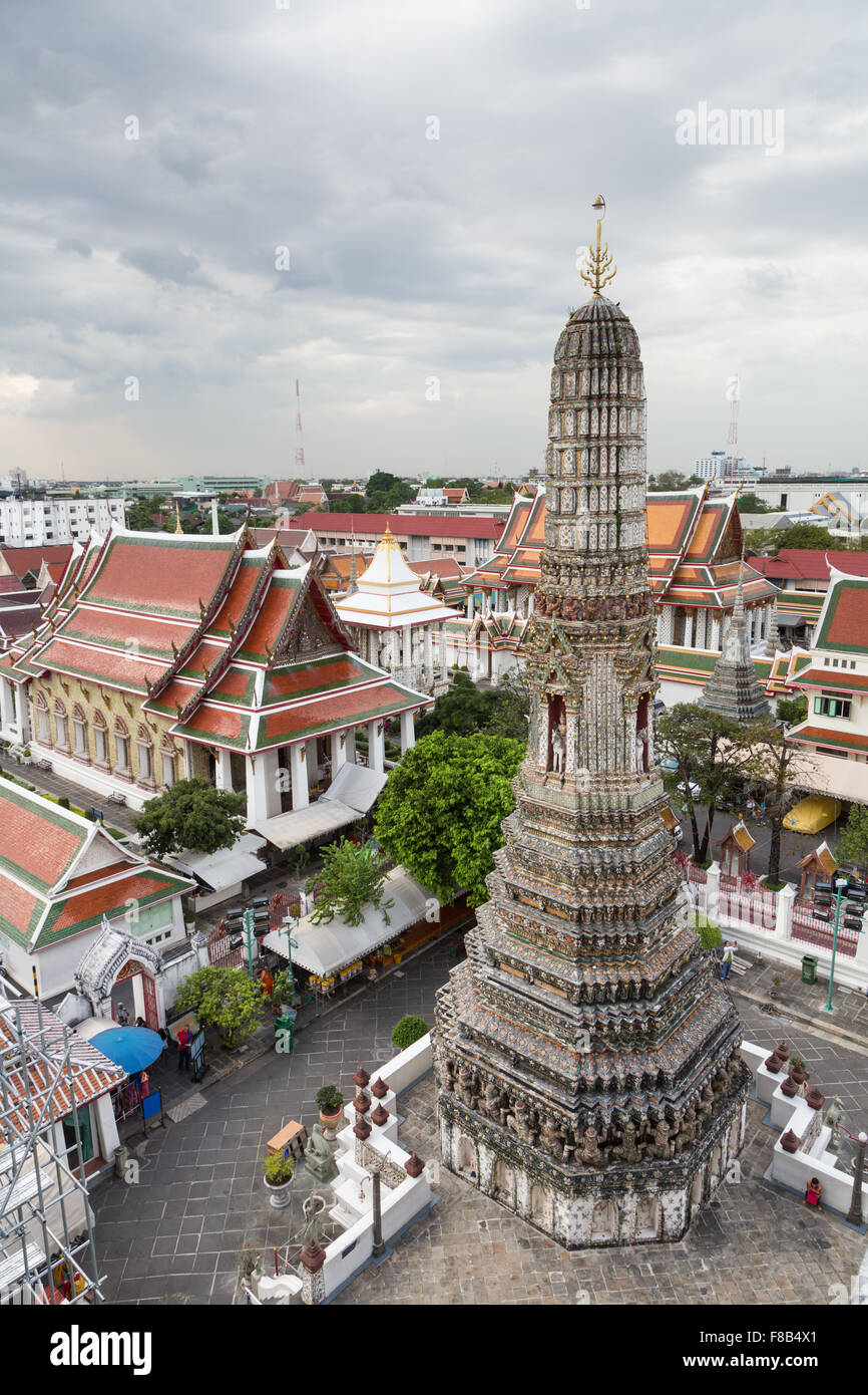 Wat Arun is a famous Buddhist temple along the Chao Praya River in Bangkok, Thailand capital city. Stock Photo