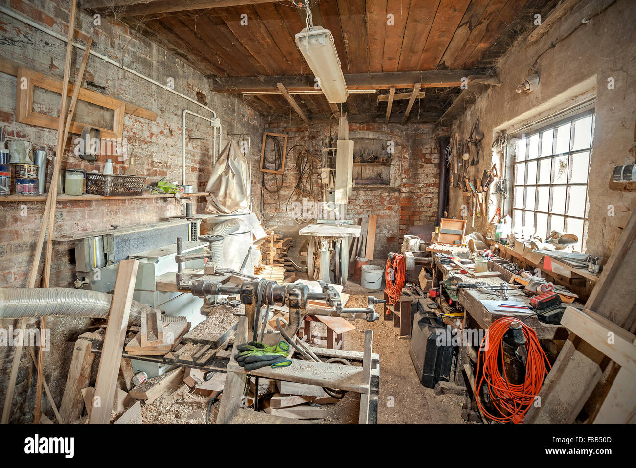 Traditional old carpenter workshop interior Stock Photo ...
