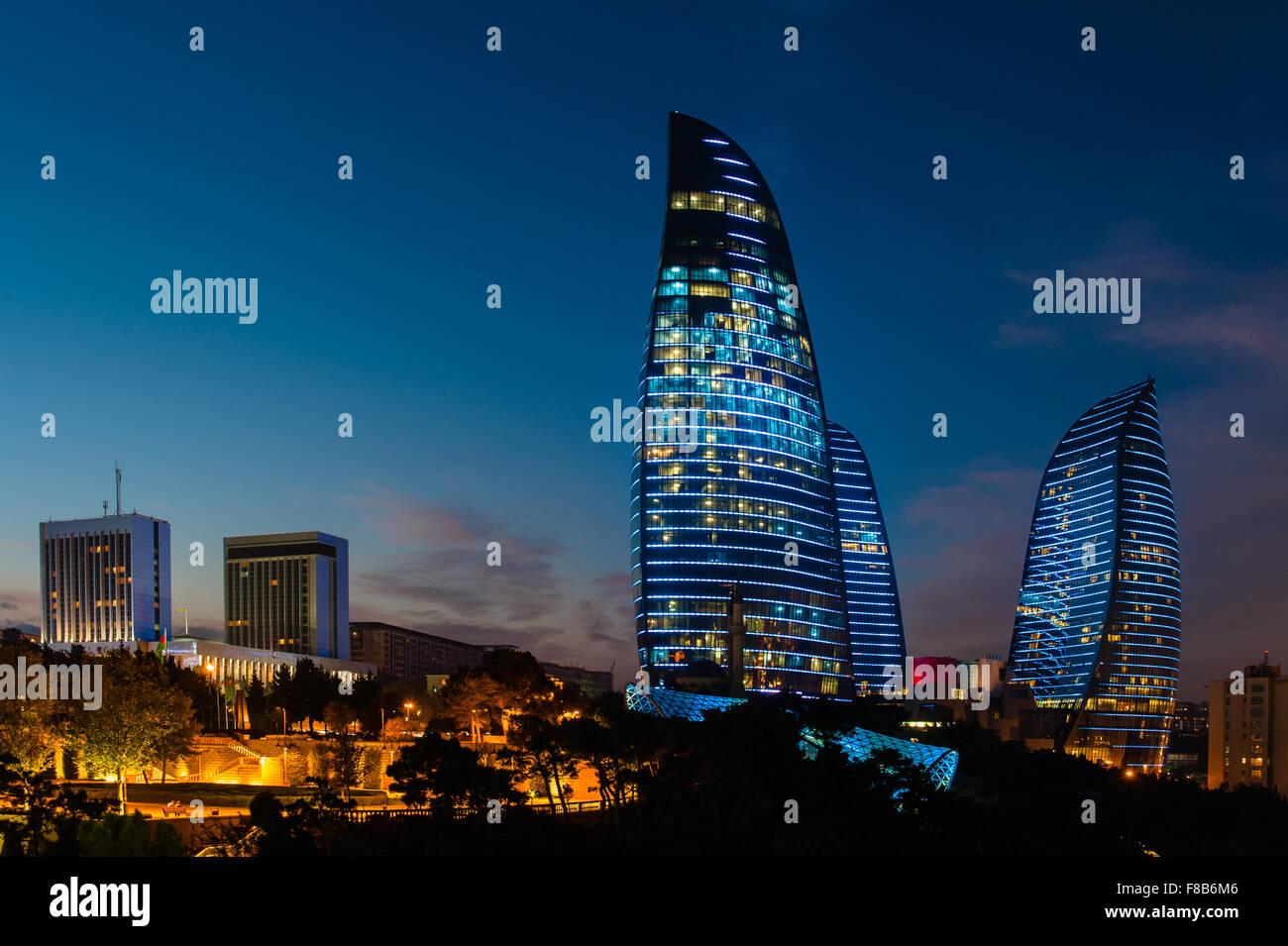 Flame Towers are new skyscrapers in Baku, Azerbaijan - Stock Image
