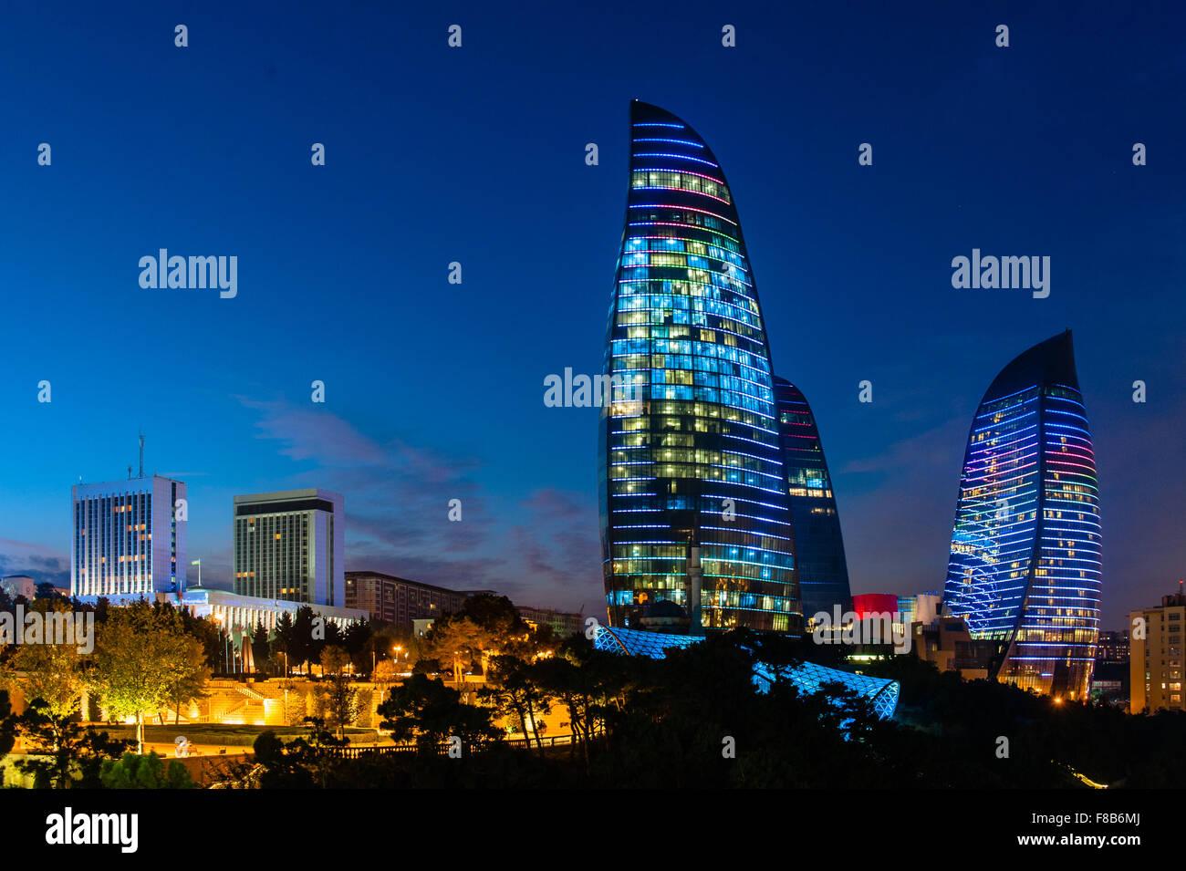 Flame Towers are new skyscrapers in Baku, Azerbaijan Stock Photo