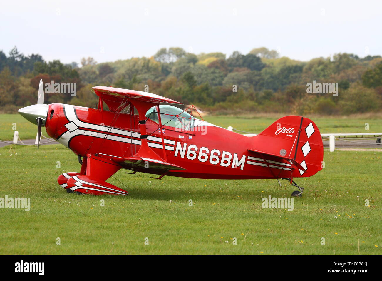 A Pitts Special ready for take off at White Waltham Airfield - Stock Image