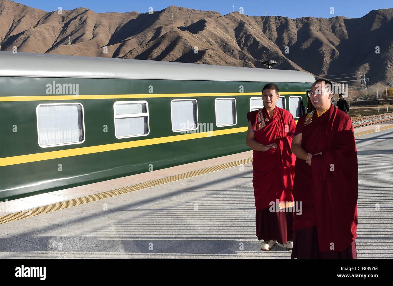 Beijing, China's Tibet Autonomous Region. 1st Dec, 2015. The 11th Panchen Lama (R), Bainqen Erdini Qoigyijabu, - Stock Image
