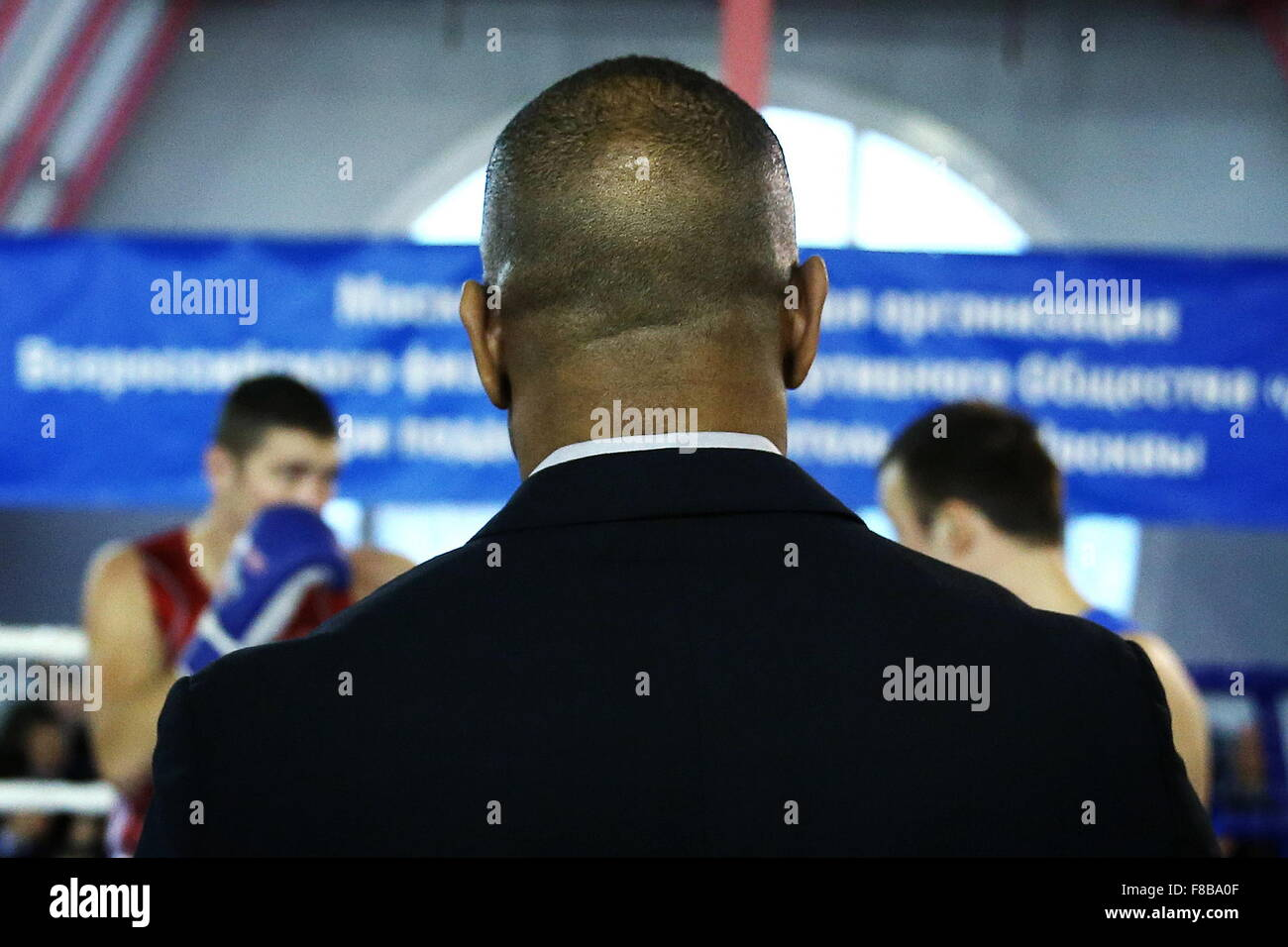 Moscow, Russia. 8th Dec, 2015. American-Russian professional boxer Roy Jones Jr seen during a masterclass for Moscow - Stock Image