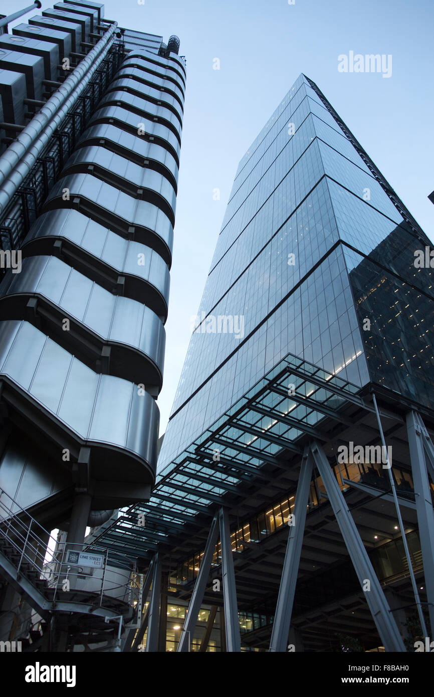 Buildings at twilight on Leadenhall Street, in the City of London, financial district of London, England, United - Stock Image
