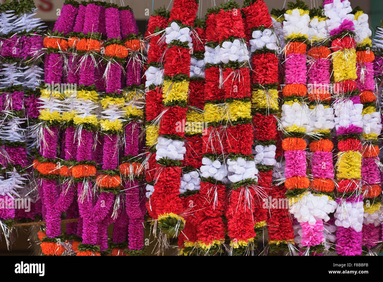 Flower garlands Panjim Goa India - Stock Image
