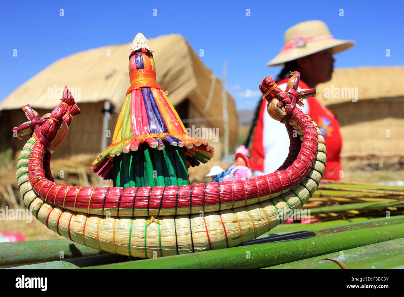 Traditional Handicrafts From The Uros Indian Community, Lake Titicaca, Peru Stock Photo