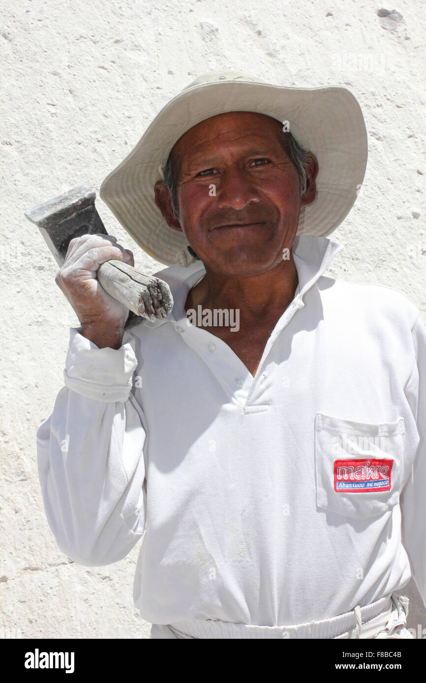'Maestros canteros' or Quarryman In Ruta Del Sillar, Arequipa, Peru - Stock Image