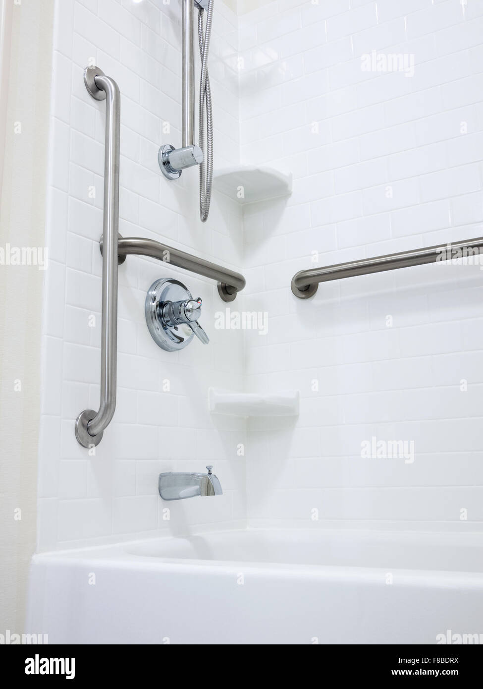Shower with handicapped disabled access grab bars and removable ...