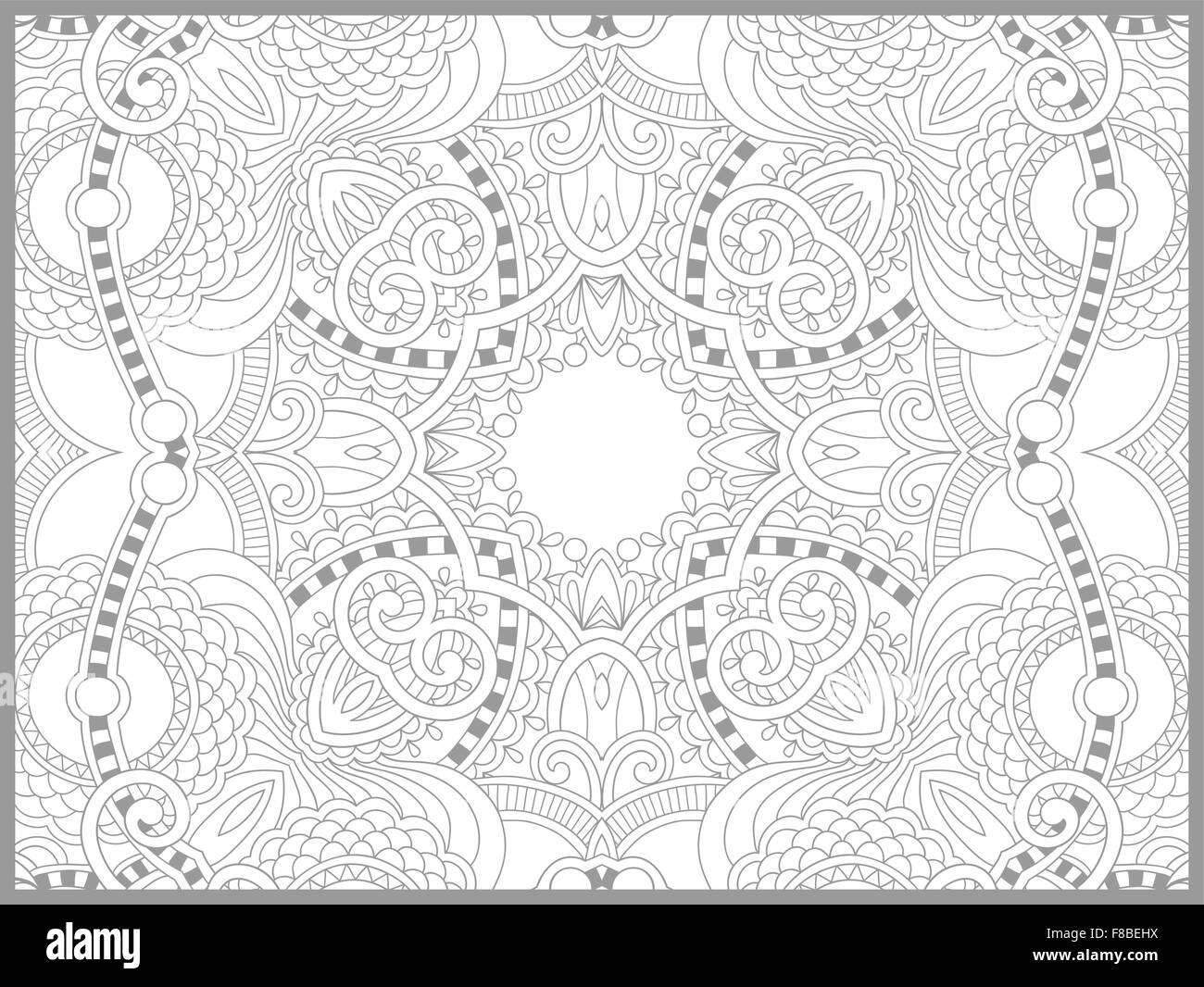 unique coloring book page for adults - flower paisley design Stock ...