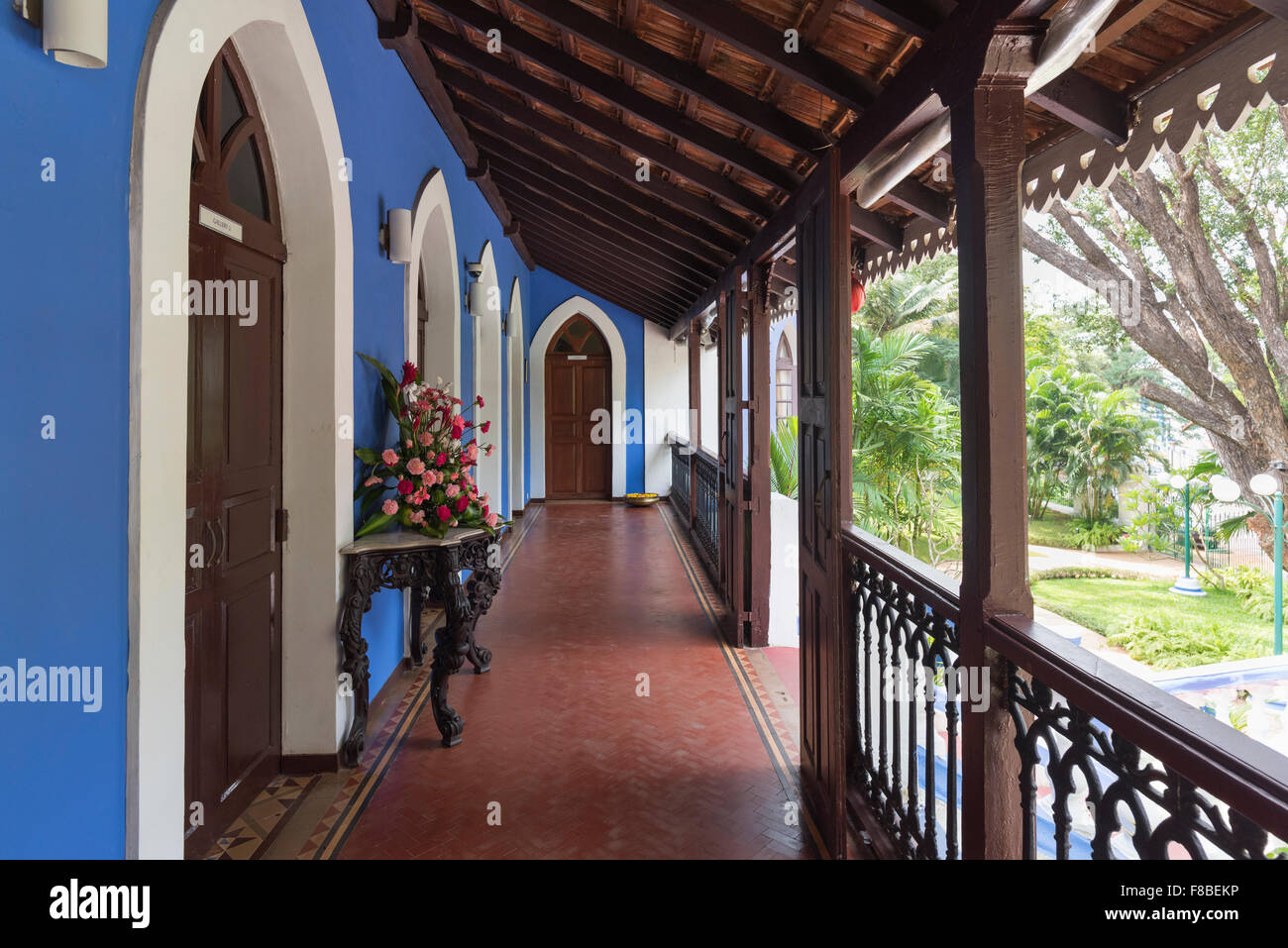 Traditional style veranda. Portuguese villa Altinho Panjim Goa India - Stock Image