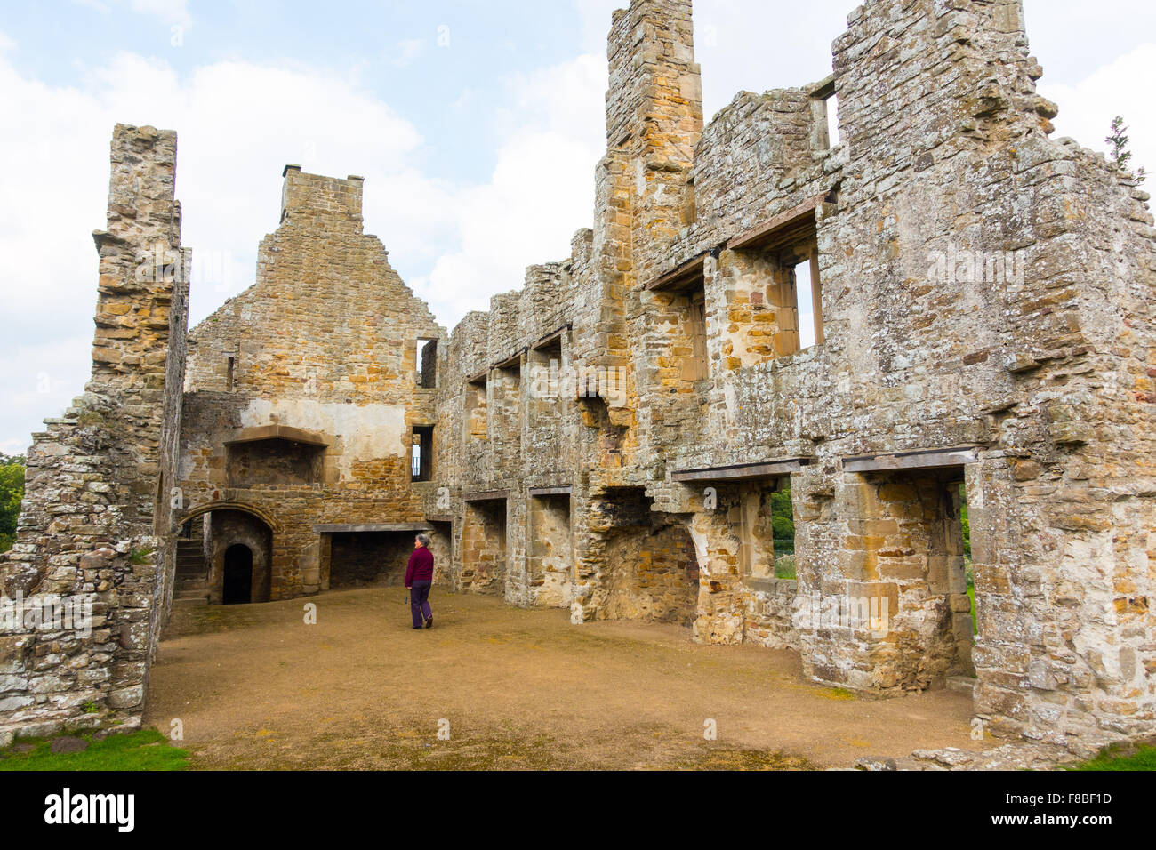 The ruins of 12th century, Premonstratensian, Egglestone Abbey on southern (Yorkshire) bank of River Tees. - Stock Image