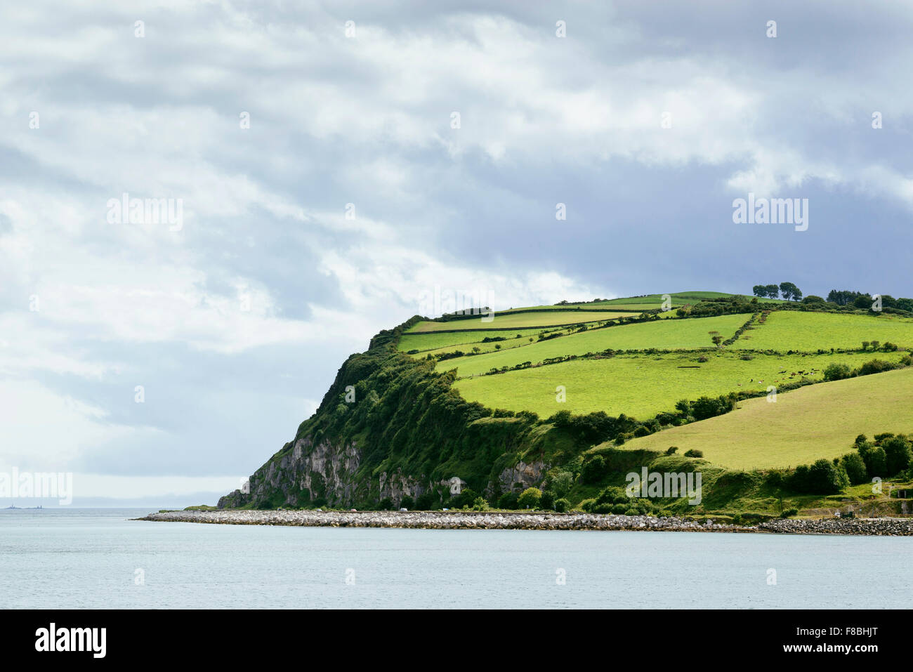 Cliff by the North Atlantic, County Antrim, Northern Ireland, United Kingdom - Stock Image