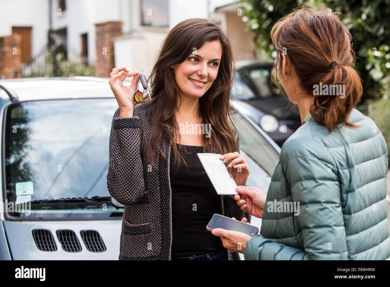 Car rental between individuals. - Stock Image