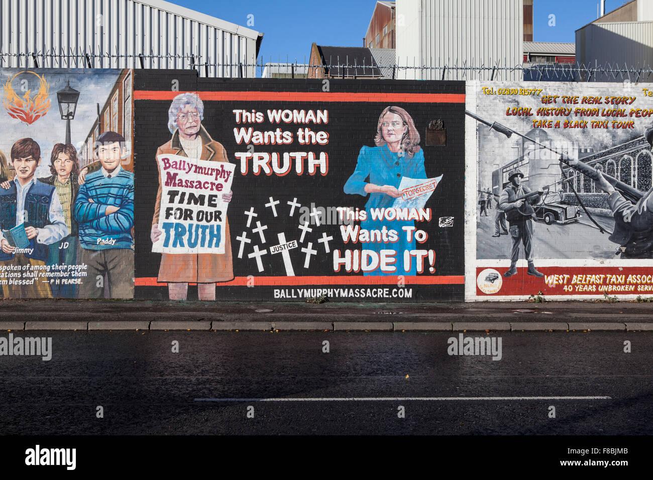 Grafitti, mural in West Belfast, Northern Ireland - Stock Image
