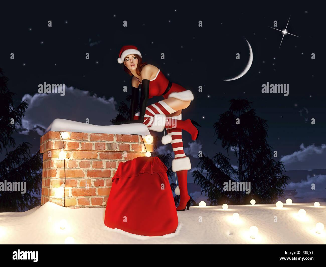 Santa woman. 3d rendering - Stock Image