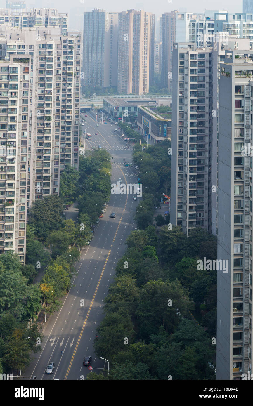 High Rise Apartment Blocks Chengdu City Sichuan Province China LA008738 - Stock Image