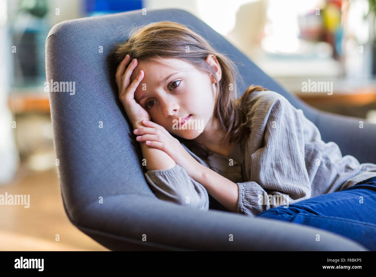 8 year-old girl. - Stock Image