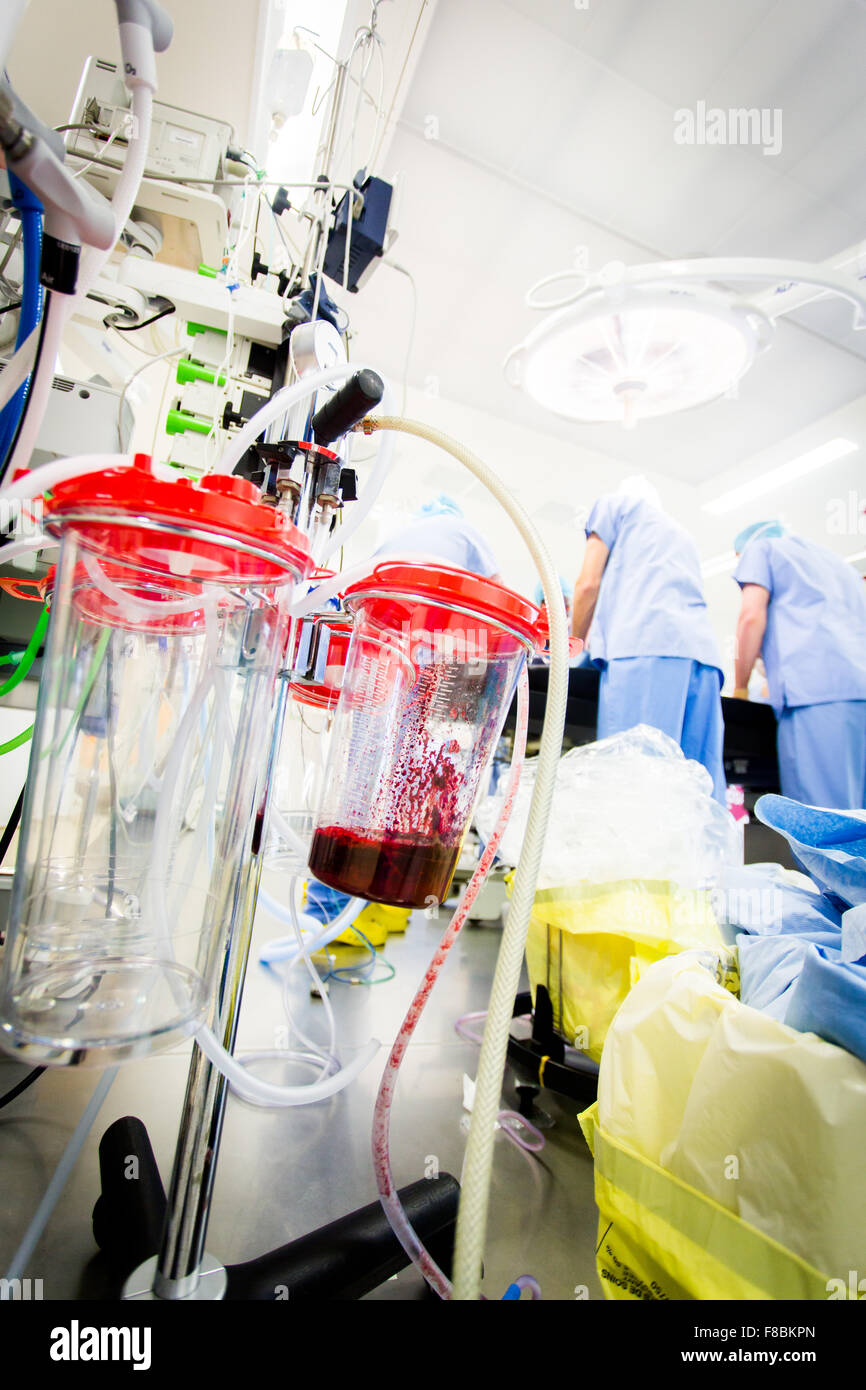 Outer canister for intraoperative blood recovery. - Stock Image