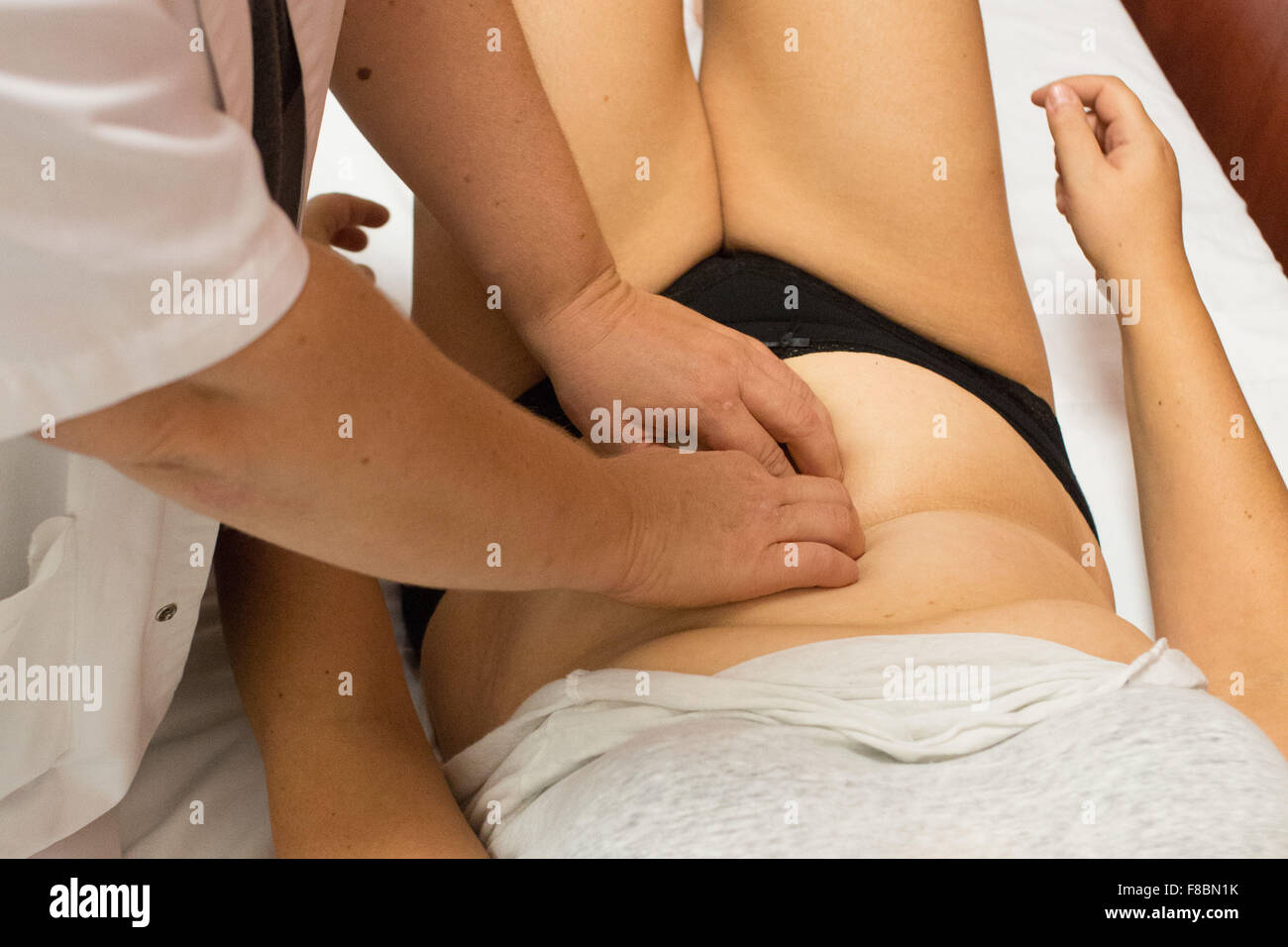 French women in Tunisia for cosmetic surgery of the abdomen ( abdominoplasty ), at Hannibal Internationale private - Stock Image