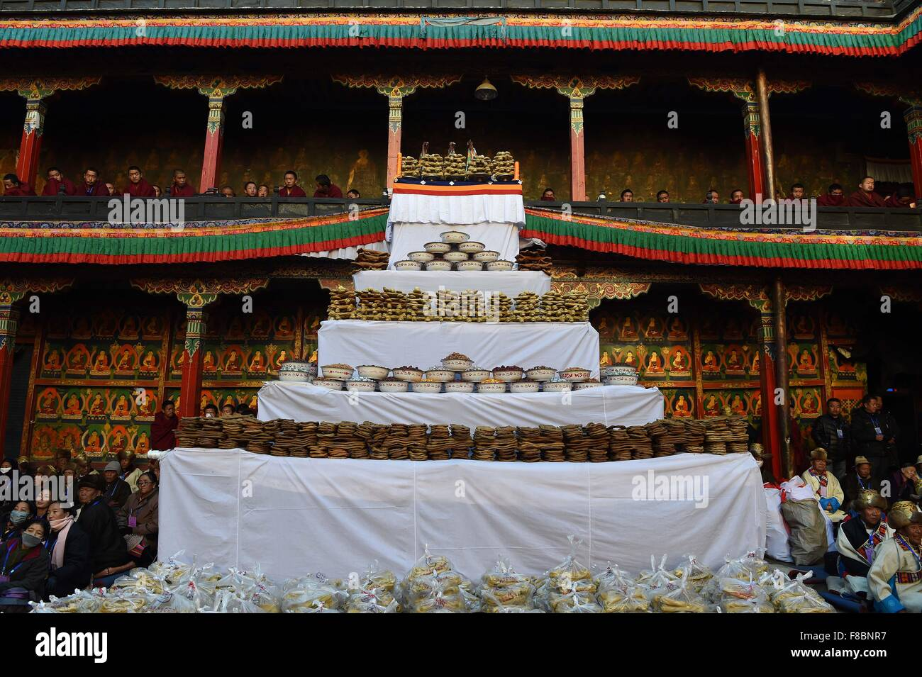 Xigaze. 8th Dec, 2015. Photo taken on Dec. 8, 2015 shows offerings on the 20th anniversary of the enthronement of - Stock Image