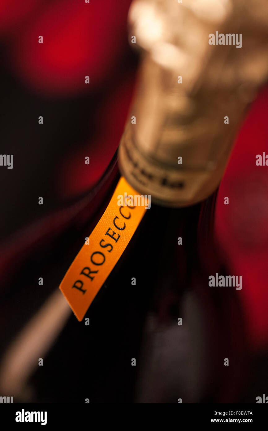 Close up detail of the label and neck of a bottle of Italian Prosecco wine. - Stock Image